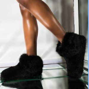 UGG Amary Fluffy Slippers Faux Fur Black Size 6